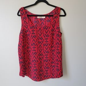 FADED GLORY   Red and Navy Blouse   sz L